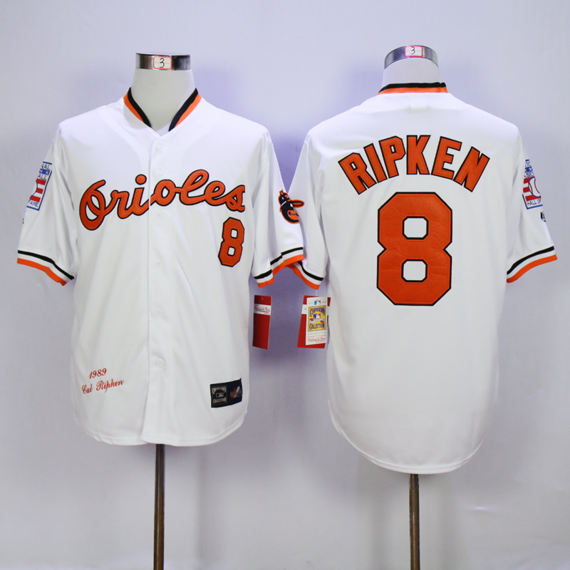 Men Baltimore Orioles 8 Cal Ripken White Throwback 1989 MLB Jerseys