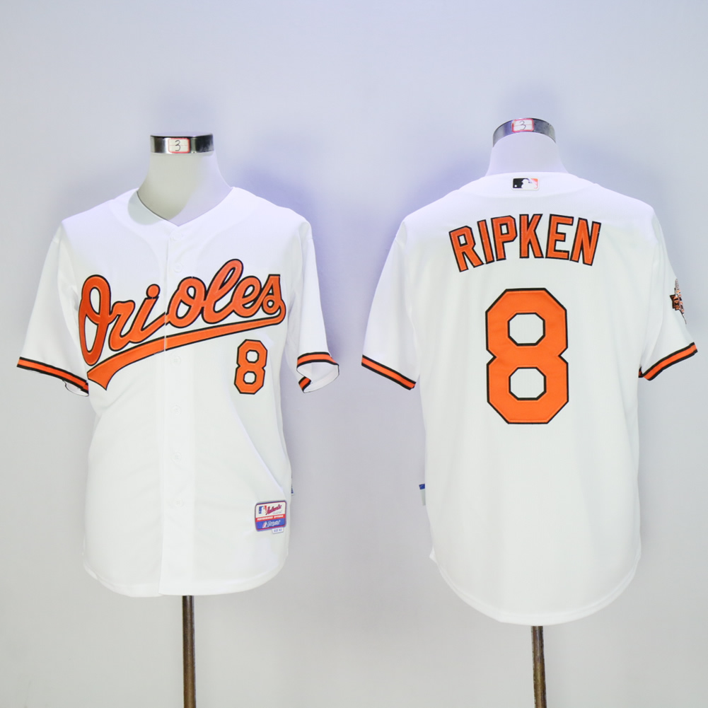 Men Baltimore Orioles 8 Cal Ripken White Throwback MLB Jerseys