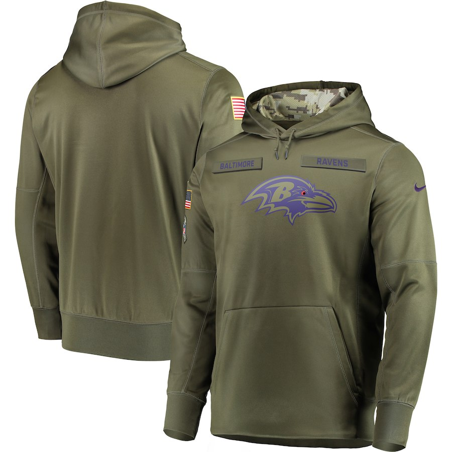 Men Baltimore Ravens Nike Olive Salute To Service KO Performance Hoodie Green