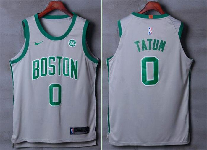 Men Boston Celtics 0 Tatum Gray Nike Swingman City Edition NBA Jersey