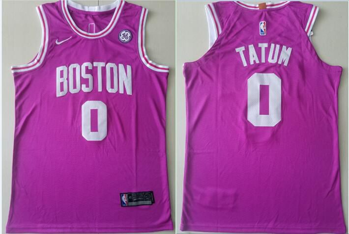Men Boston Celtics 0 Tatum Pink City Edition Game Nike NBA Jerseys