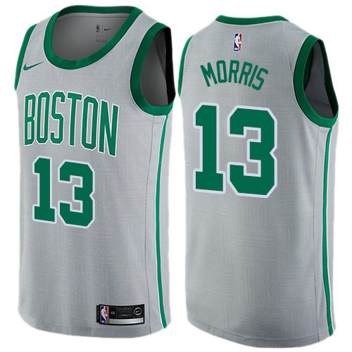 Men Boston Celtics 13 Marcus Morris Gray Nike Swingman City Edition NBA Jersey