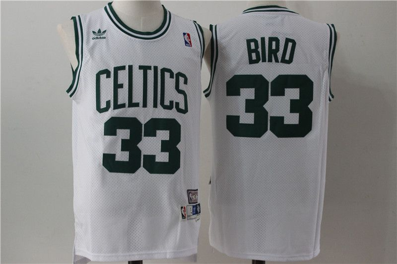 Men Boston Celtics 33 Bird white Throwback Adidas NBA Jersey