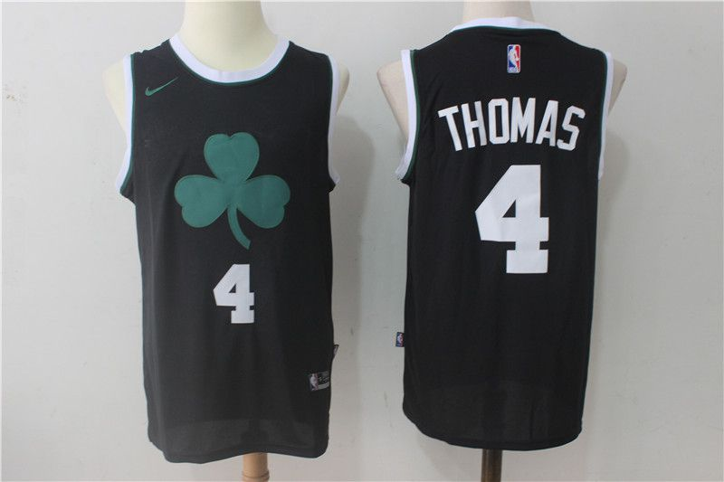 Men Boston Celtics 4 Thomas Black Nike Black Fashion Swingman NBA Jersey