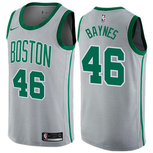 Men Boston Celtics 46 Aron Baynes Gray Nike Swingman City Edition NBA Jersey