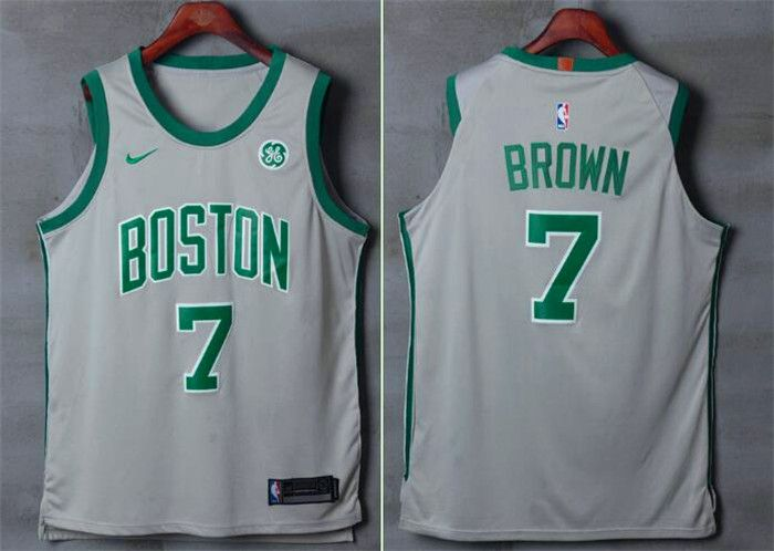 Men Boston Celtics 7 Brown Gray Nike Swingman City Edition NBA Jersey