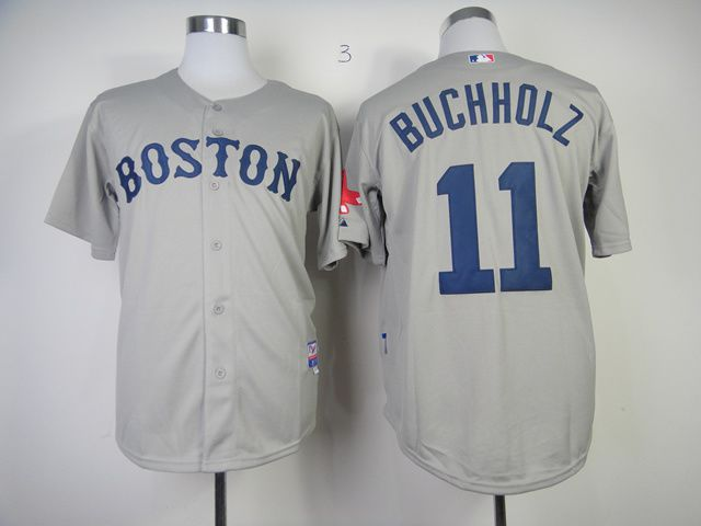 Men Boston Red Sox 11 Buchholz Grey MLB Jerseys