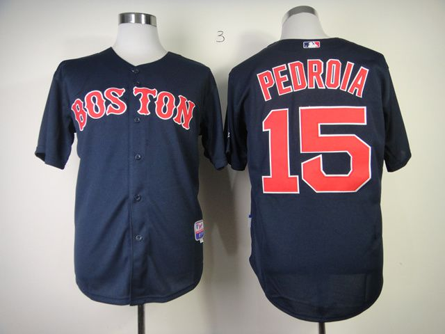 Men Boston Red Sox 15 Pedroia Blue MLB Jerseys