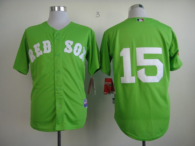 Men Boston Red Sox 15 Pedroia Green MLB Jerseys