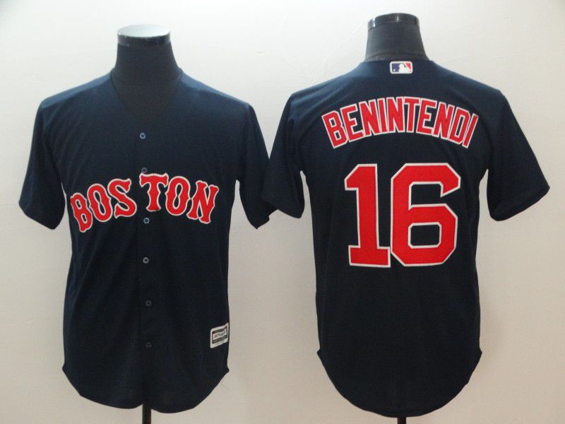 Men Boston Red Sox 16 Benintendi Blue Game MLB Jerseys