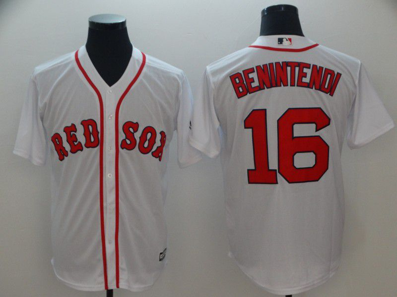 Men Boston Red Sox 16 Benintendi White Game MLB Jerseys