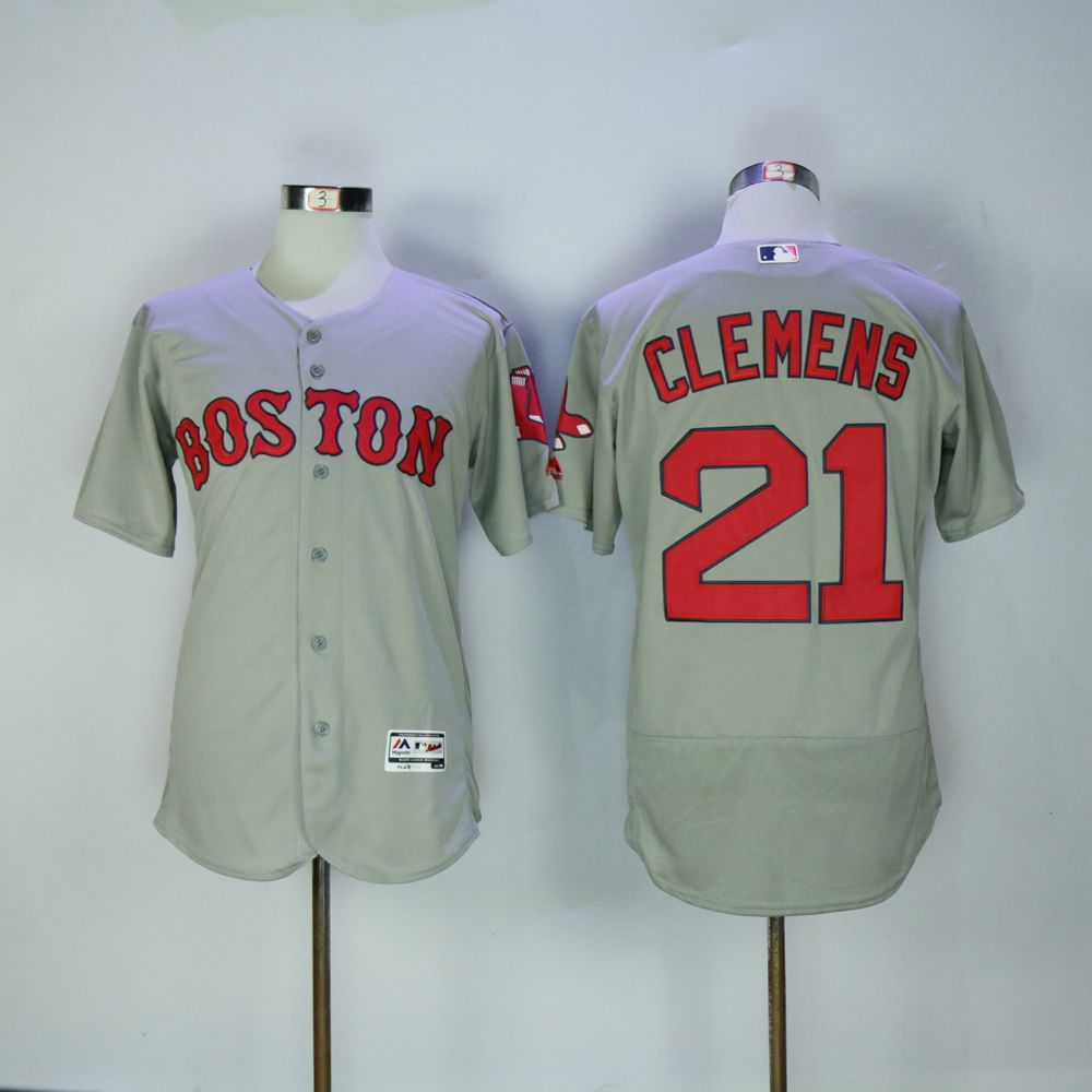 Men Boston Red Sox 21 Clemens Grey MLB Jerseys