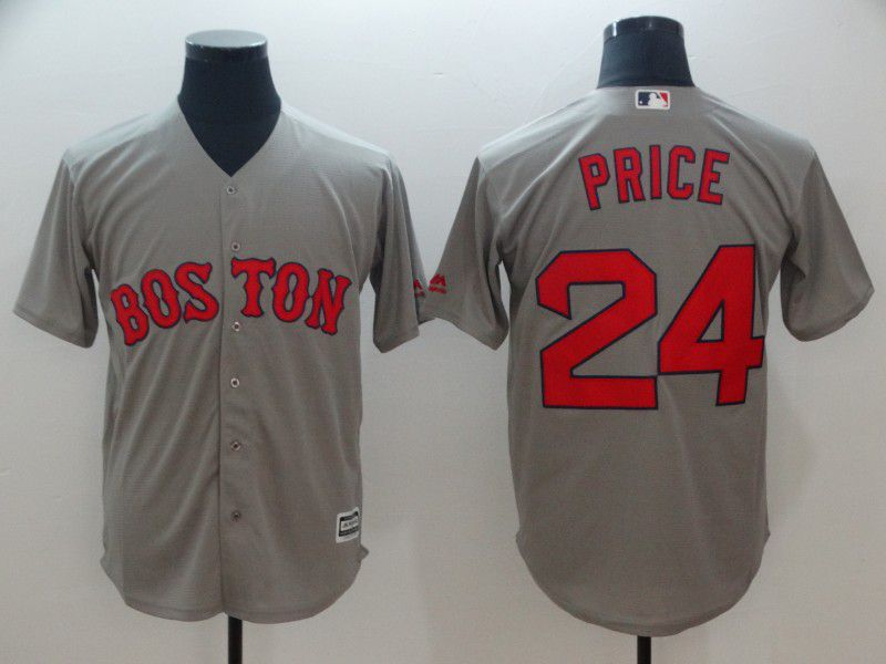 Men Boston Red Sox 24 Price Grey Game MLB Jerseys