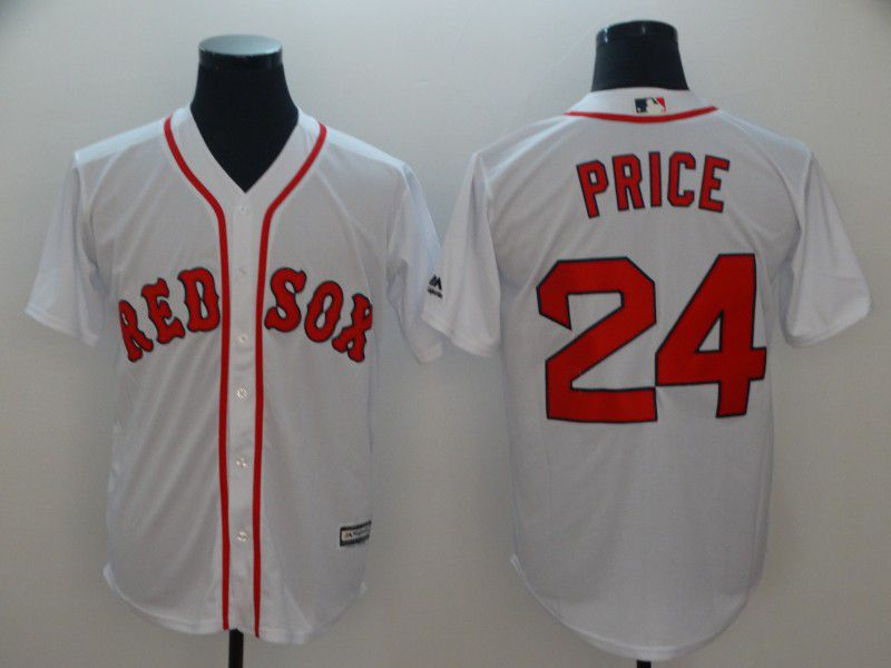 Men Boston Red Sox 24 Price White Game MLB Jerseys