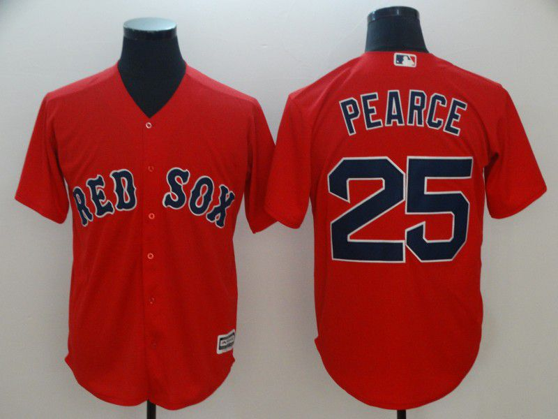 Men Boston Red Sox 25 Pearce Red Game MLB Jerseys