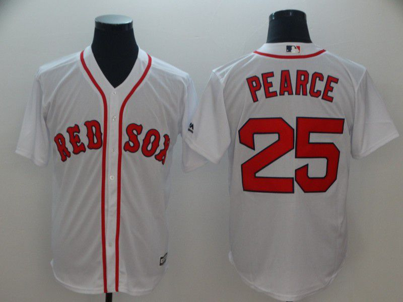 Men Boston Red Sox 25 Pearce White Game MLB Jerseys