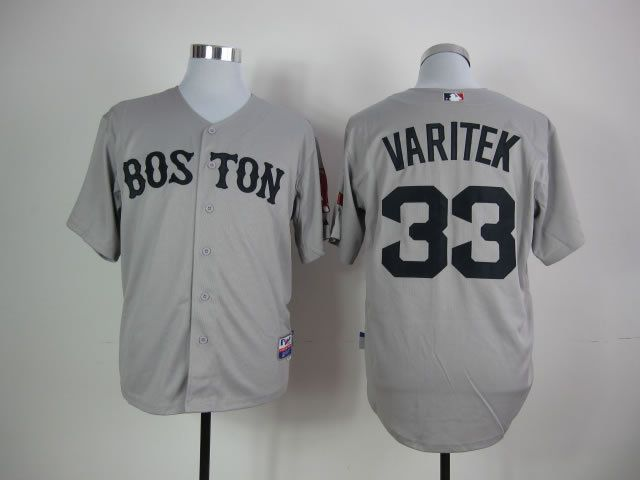 Men Boston Red Sox 33 Varitek Grey MLB Jerseys