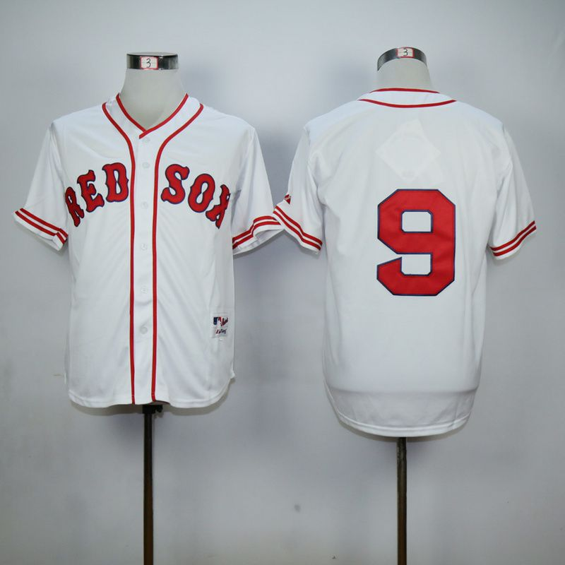 Men Boston Red Sox 9 Williams White Throwback MLB Jerseys
