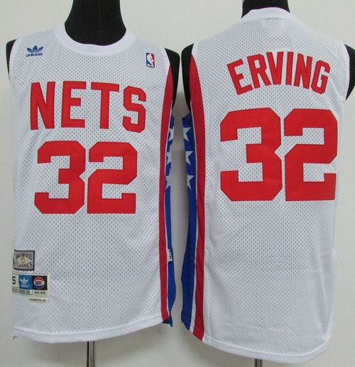 Men Brooklyn Nets 32 Julius Erving White ABA Retro Swingman Throwback Stitched NBA Jersey