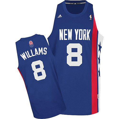 Men Brooklyn Nets 8 Deron Williams Blue ABA Hardwood Classic Stitched NBA Jersey
