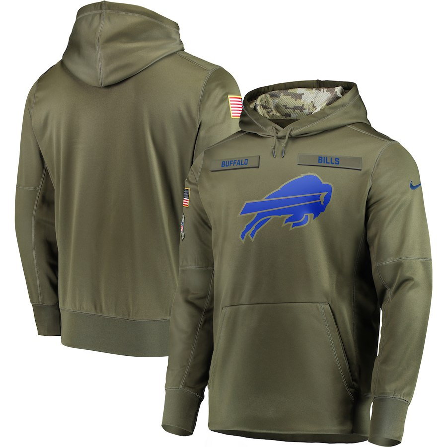 Men Buffalo Bills Nike Olive Salute To Service KO Performance Hoodie Green