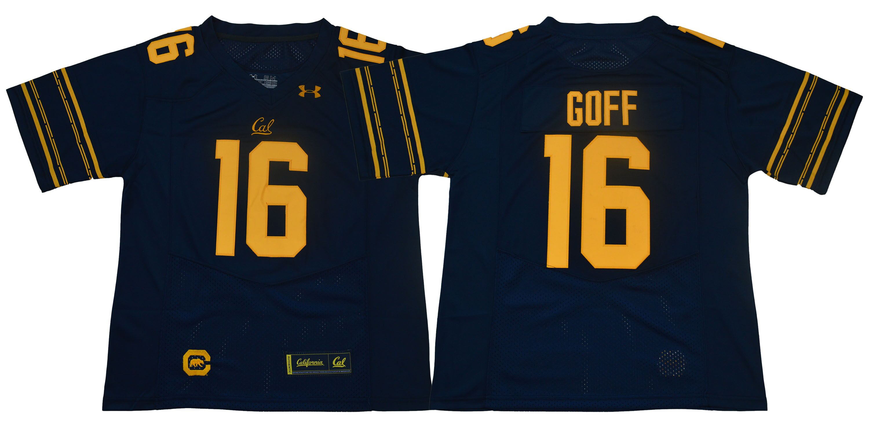 Men California Golden Bears 16 Goff Dark blue Stitched NCAA Jersey