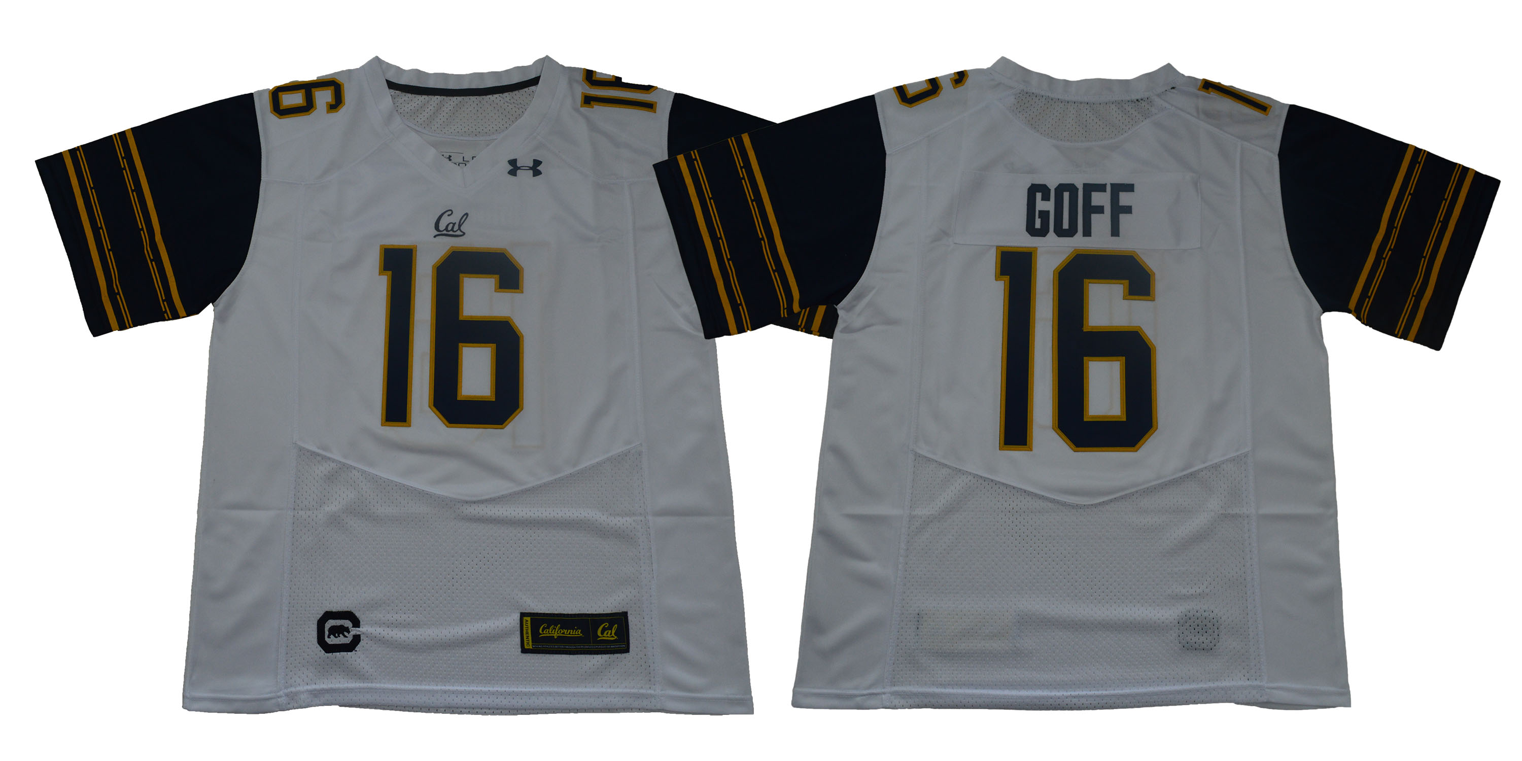 Men California Golden Bears 16 Goff White Stitched NCAA Jersey