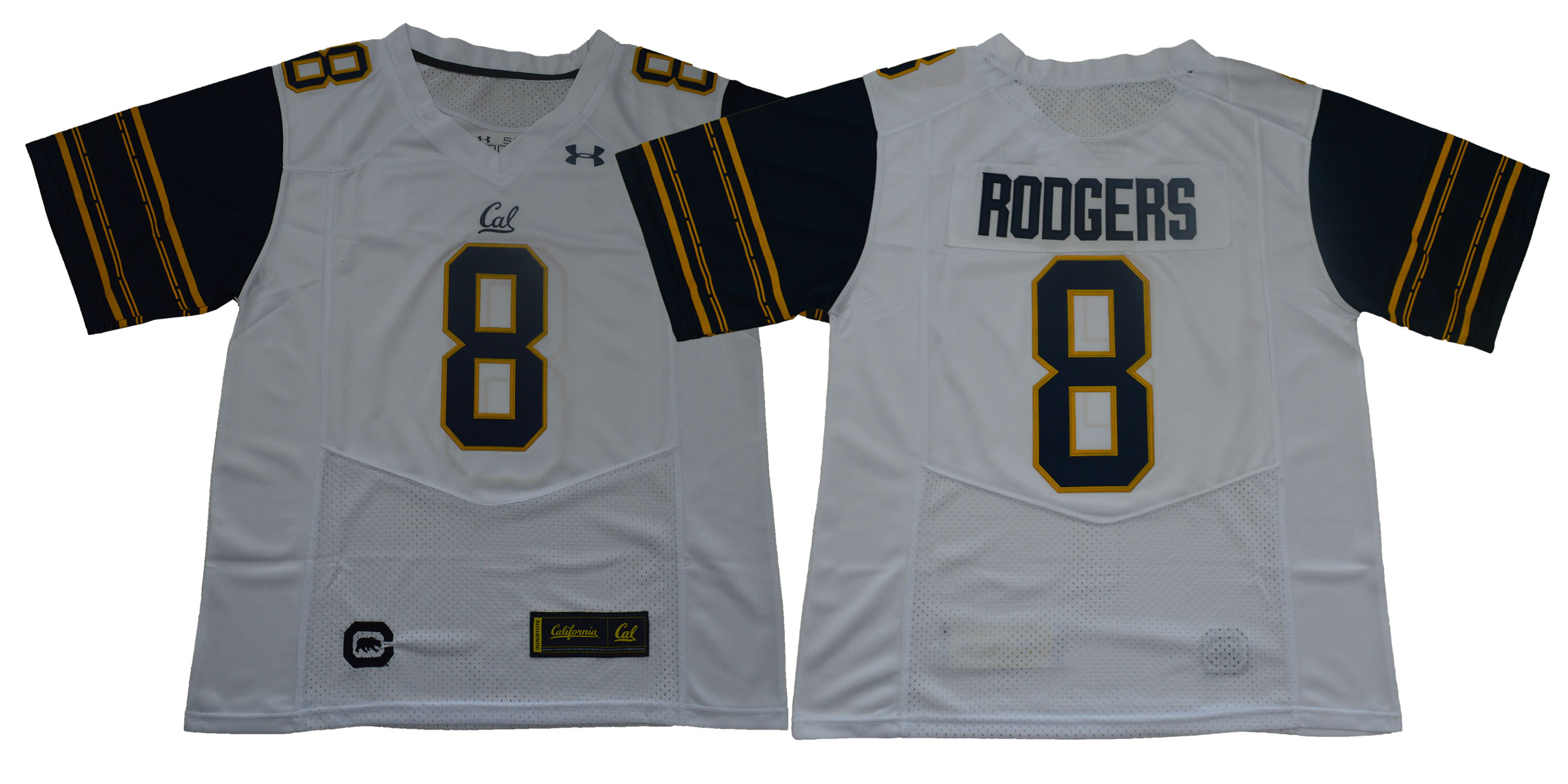 Men California Golden Bears 8 Aaron Rodgers White Stitched NCAA Jersey