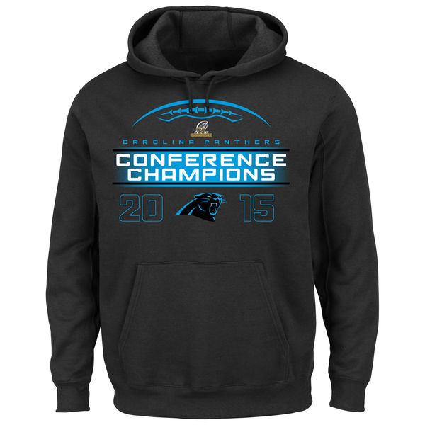 Men Carolina Panthers Majestic 2015 NFC Conference Champions Supreme Ruler VIII Pullover Hoodie Black