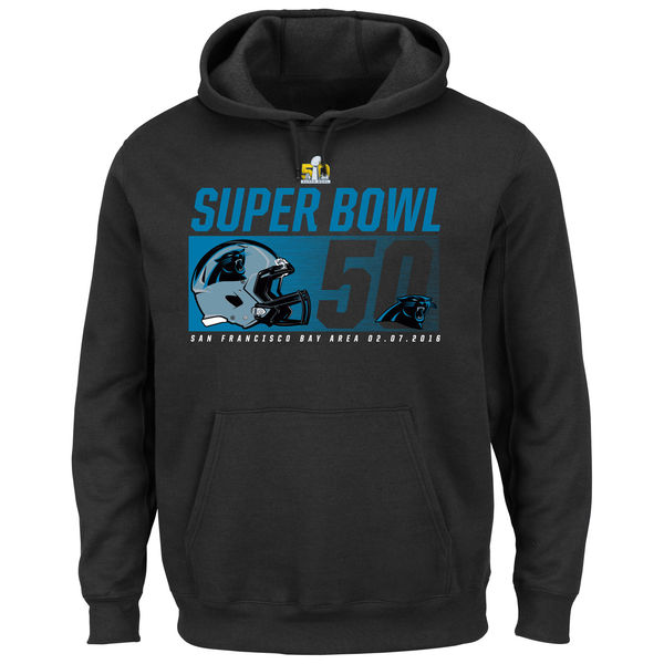 Men Carolina Panthers Majestic Super Bowl 50 Bound On Our Way Pullover Hoodie Black