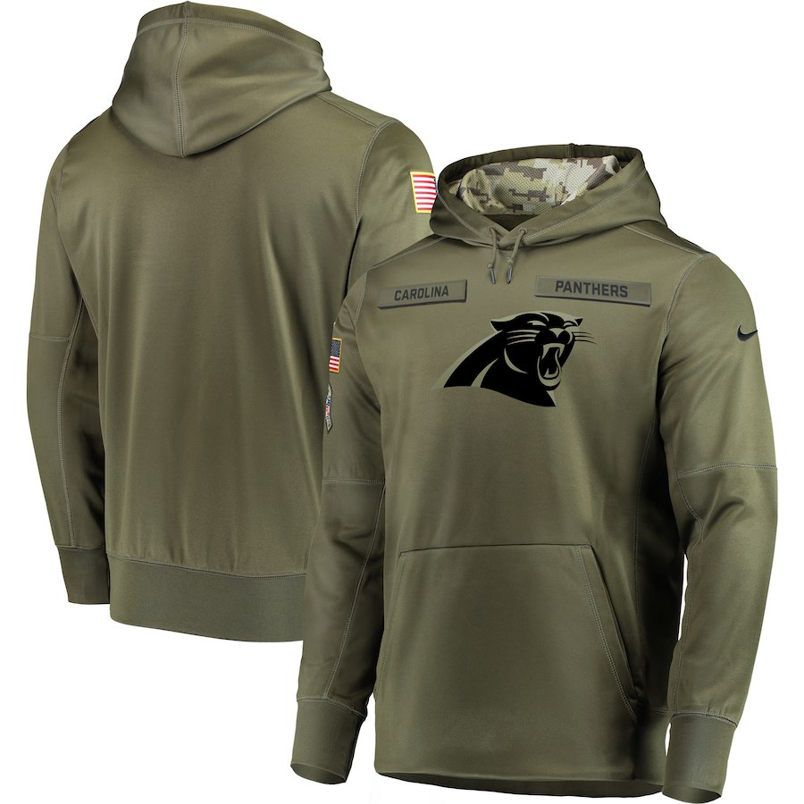 Men Carolina Panthers Nike Olive Salute To Service KO Performance Hoodie Green