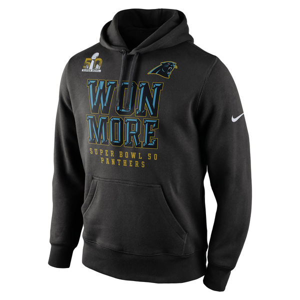 Men Carolina Panthers Nike Super Bowl 50 Bound Won More Pullover Hoodie Black