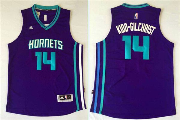Men Charlotte Hornets 14 Michael Kidd-Gilchrist Purple Throwback Stitched NBA Jersey