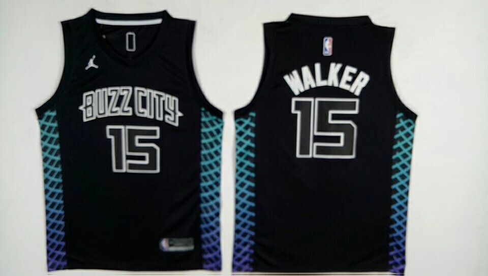 Men Charlotte Hornets 15 Kemba Walker Black Swingman City Edition NBA Jersey