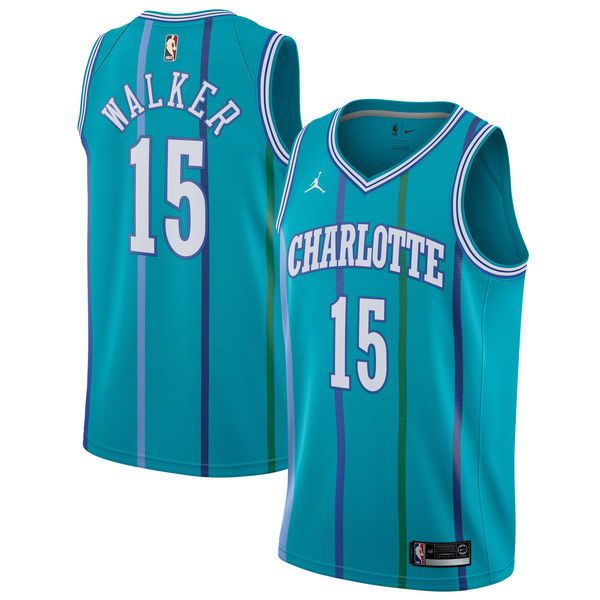 Men Charlotte Hornets 15 Kemba Walker Green Swingman Hardwood Classics NBA Jersey
