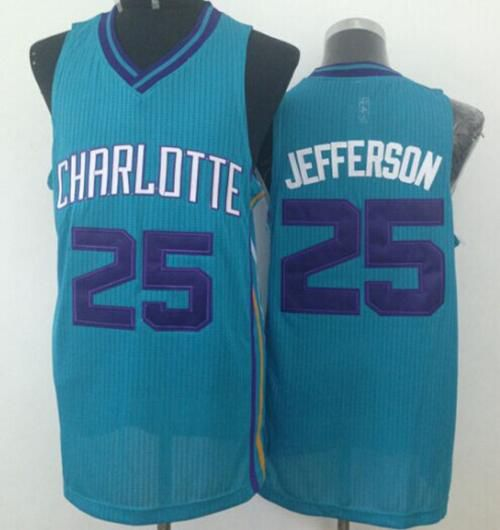 Men Charlotte Hornets 25 Al Jefferson Light Blue Throwback Stitched NBA Jersey
