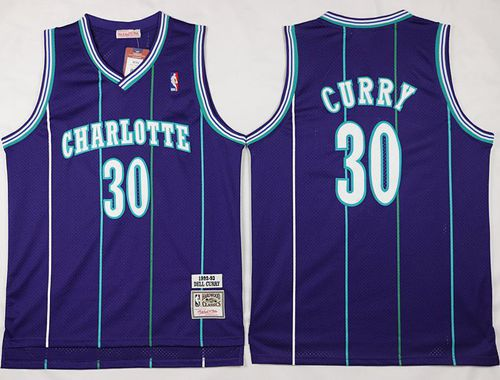 Men Charlotte Hornets 30 Dell Curry Purple Throwback Stitched NBA Jersey