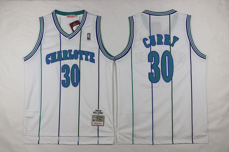 Men Charlotte Hornets 30 Dell Curry White Throwback Stitched NBA Jersey