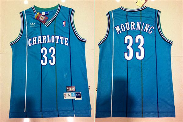 Men Charlotte Hornets 33 Alonzo Mourning Light Blue Throwback Stitched NBA Jersey