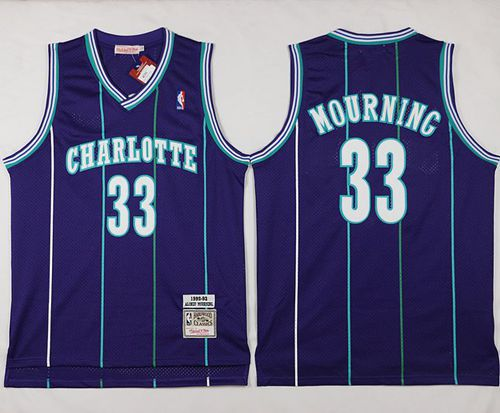 Men Charlotte Hornets 33 Alonzo Mourning Purple Throwback Stitched NBA Jersey