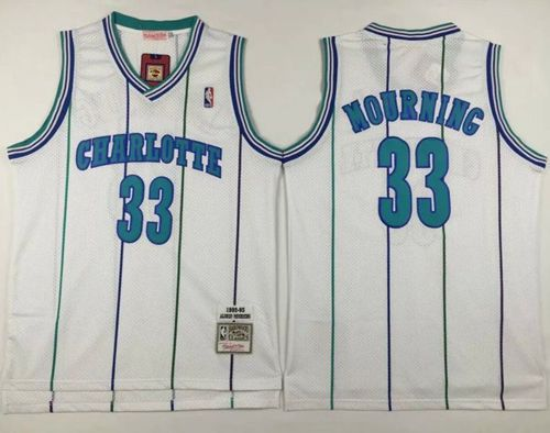 Men Charlotte Hornets 33 Alonzo Mourning White Throwback Stitched NBA Jersey