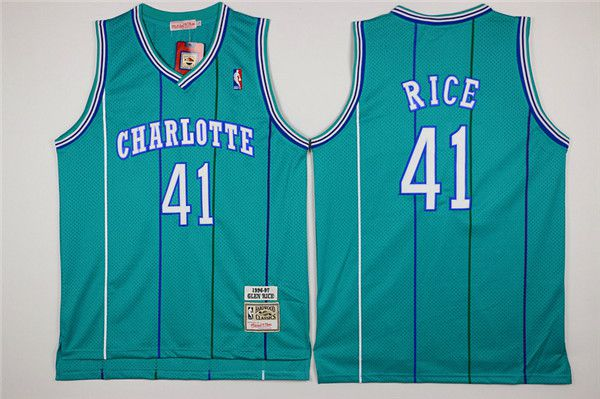 Men Charlotte Hornets 41 Rice Green Throwback Stitched NBA Jersey