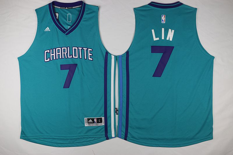 Men Charlotte Hornets 7 Lin Green Throwback Stitched NBA Jersey