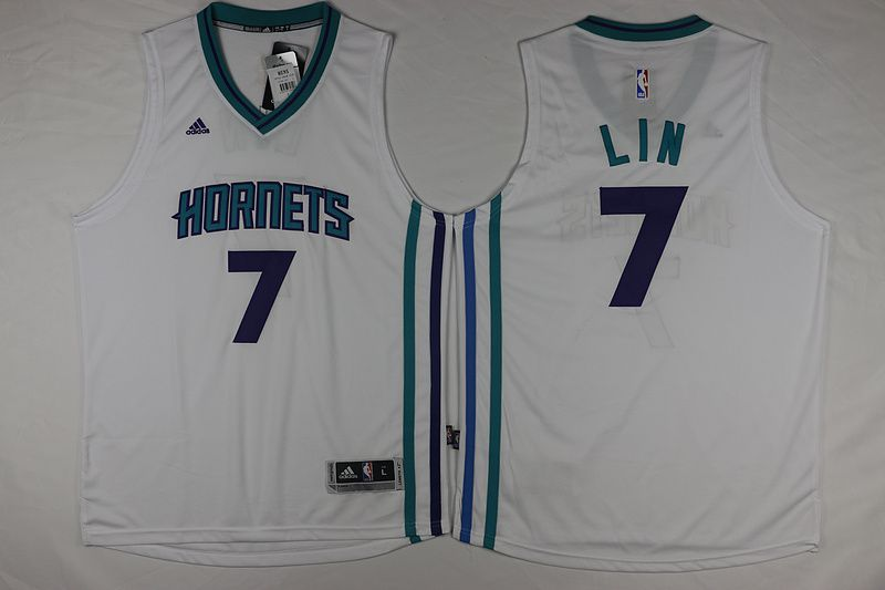Men Charlotte Hornets 7 Lin White Throwback Stitched NBA Jersey