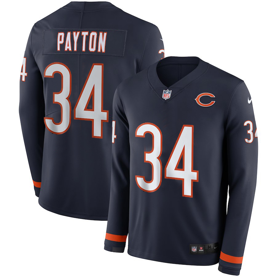 Men Chicago Bears 34 Payton blue Limited NFL Nike Therma Long Sleeve Jersey