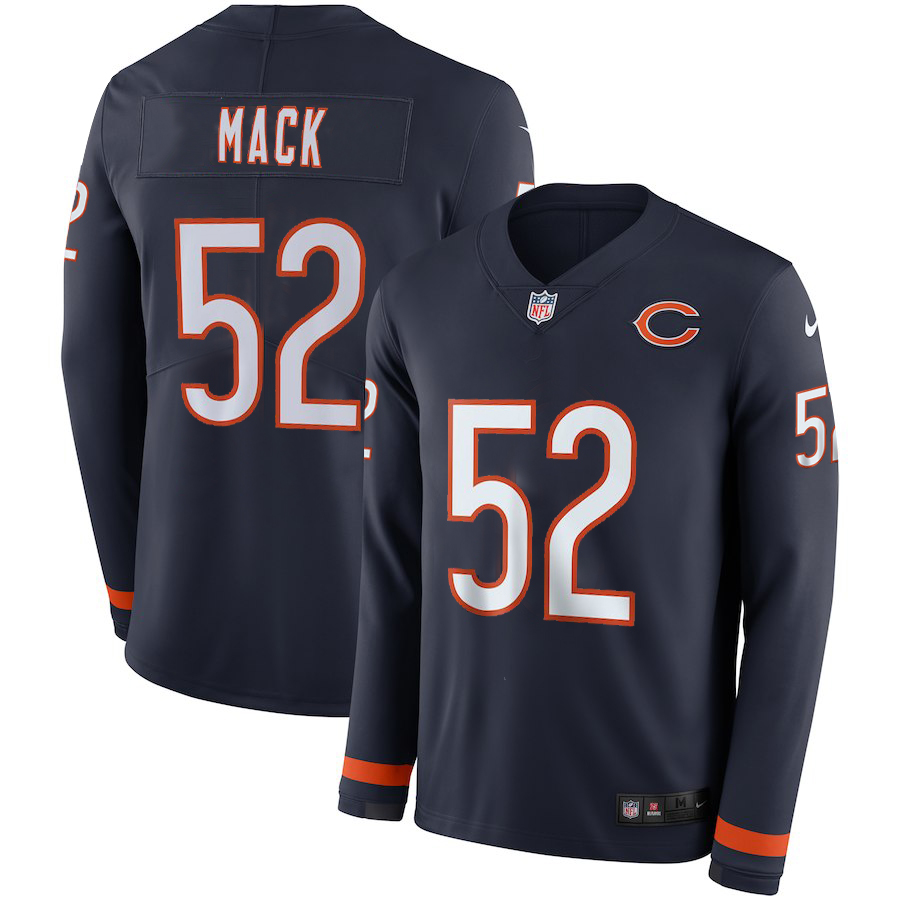 Men Chicago Bears 52 Mack blue Limited NFL Nike Therma Long Sleeve Jersey