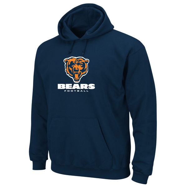 Men Chicago Bears Critical Victory Pullover Hoodie Navy Blue