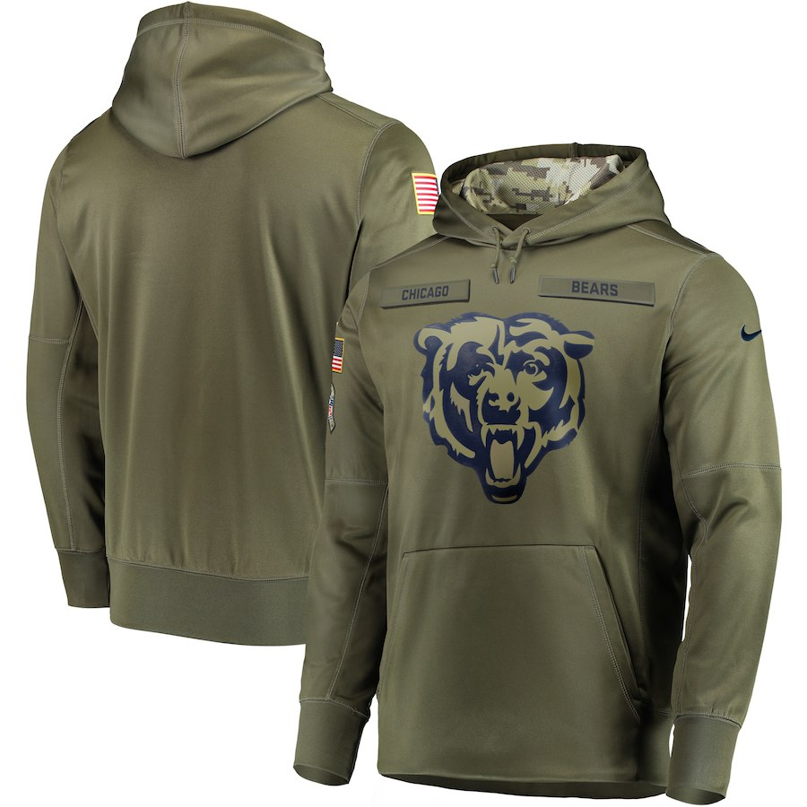 Men Chicago Bears Nike Olive Salute To Service KO Performance Hoodie Green
