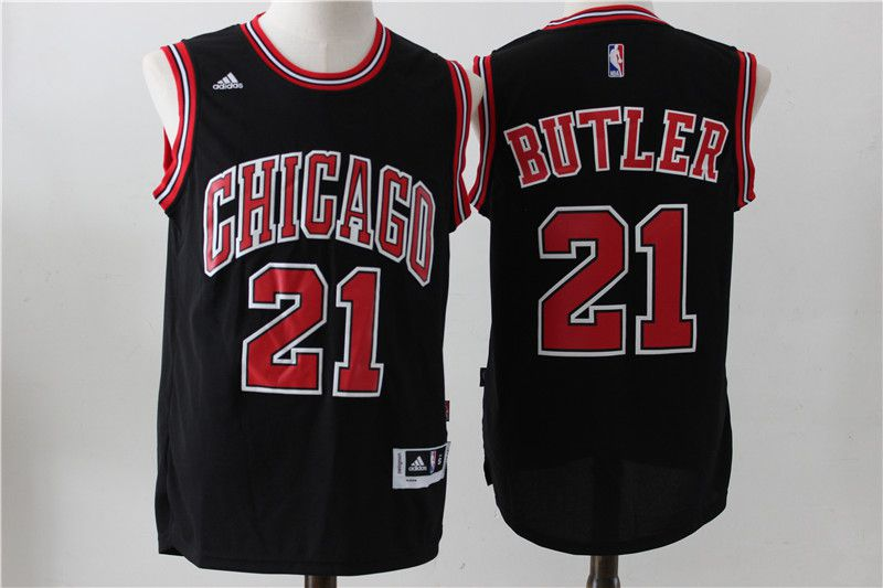 Men Chicago Bulls 21 Butler Black Adidas NBA Jersey