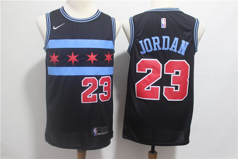 Men Chicago Bulls 23 Jordan Black City Edition Game Nike NBA Jerseys